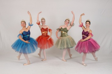 Four colorful dancers